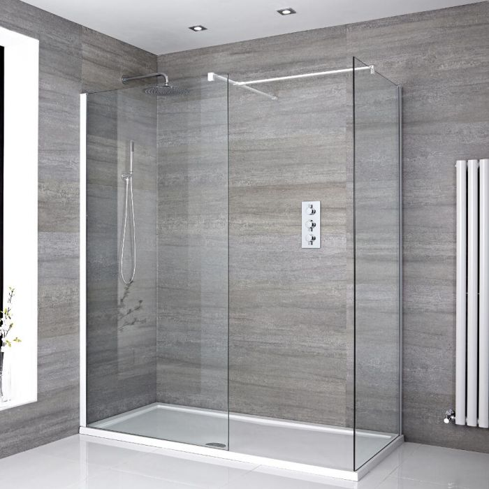 2 Walk-In Duschwände 800mm/ 1000mm inkl. 1600mm x 800mm Duschtasse & weißes Profil - Lux