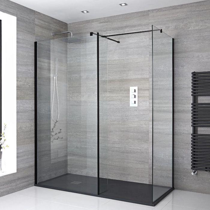 2 Walk-In Duschwände 800mm inkl. 1400mm x 800mm Anthrazit Duschtasse, Seitenteil & schwarzes Profil - Nox