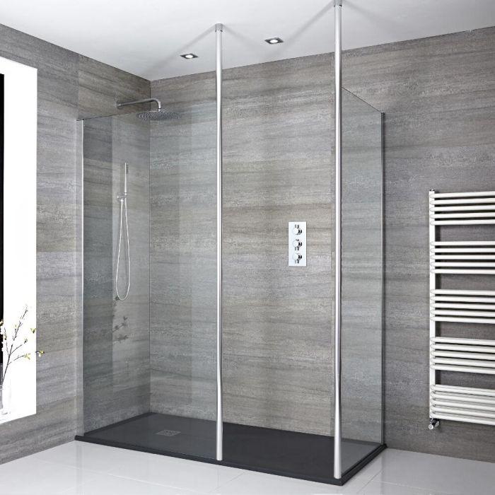 2 Walk-In Duschwände inkl. 2x Duschwandhaltestangen & 1400mm x 800mm Anthrazit Duschtasse - Sera