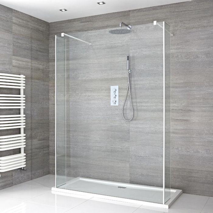 Walk-In Duschwand 1400mm inkl. 1400mm x 800mm Duschtasse, 2 Seitenteile & weißes Profil - Lux