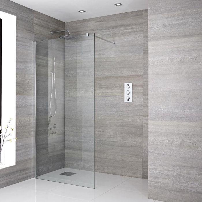 Walk-In Duschwand 1400mm mit Chromprofil inkl. Halterarm & wählbarer Duschrinne - Portland