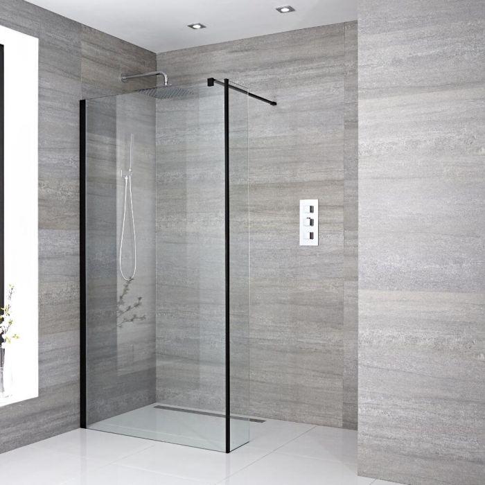 Walk-In Duschwand 1950mm x 1000mm mit Seitenteil, schwarzes Profil & wählbarer Duschrinne - Nox