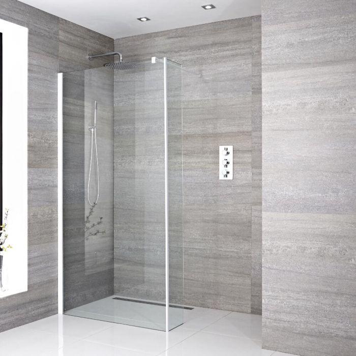 Walk-In Duschwand 900mm mit Seitenteil, weißes Profil & wählbarer Duschrinne - Lux