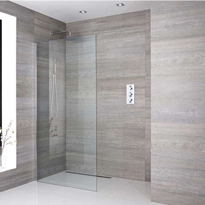 Walk-In Duschwand 1950mm x 1000mm inkl. Duschwandhaltestange & wählbare Duschrinne - Sera