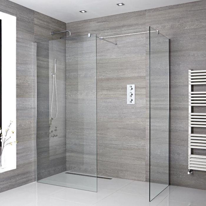 2 Walk-In Duschwände 900mm/ 1000mm mit 2 Haltearmen inkl. wählbare Duschrinne - Portland