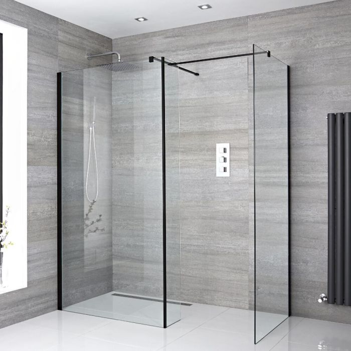 2 Walk-In Duschwände 900mm/ 1000mm inkl. Seitenteil, schwarzes Profil & wählbare Duschrinne - Nox