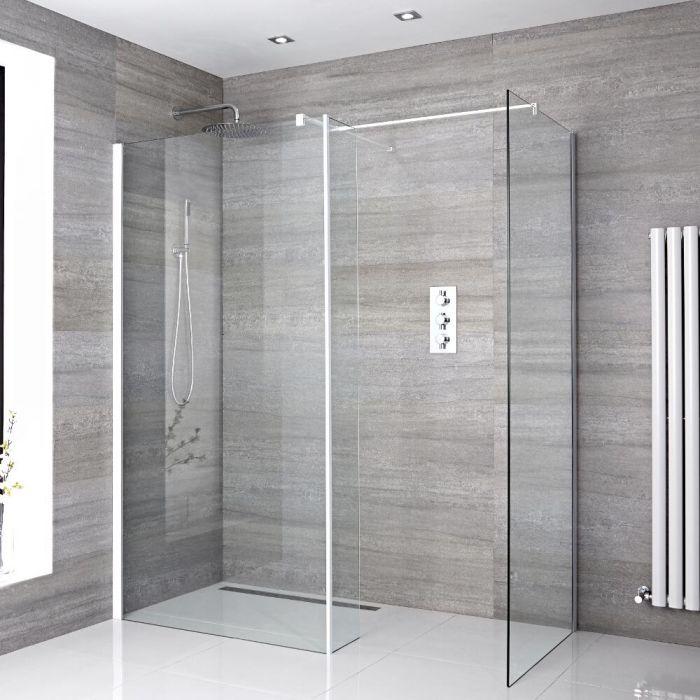 2 Walk-In Duschwände 800mm/ 900mm inkl. Seitenteil, weißes Profil & wählbare Duschrinne - Lux