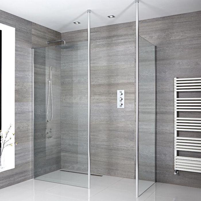 2 Walk-In Duschwände 900/1200mm mit 2 x Duschwandhaltestangen inkl. wählbare Duschrinne