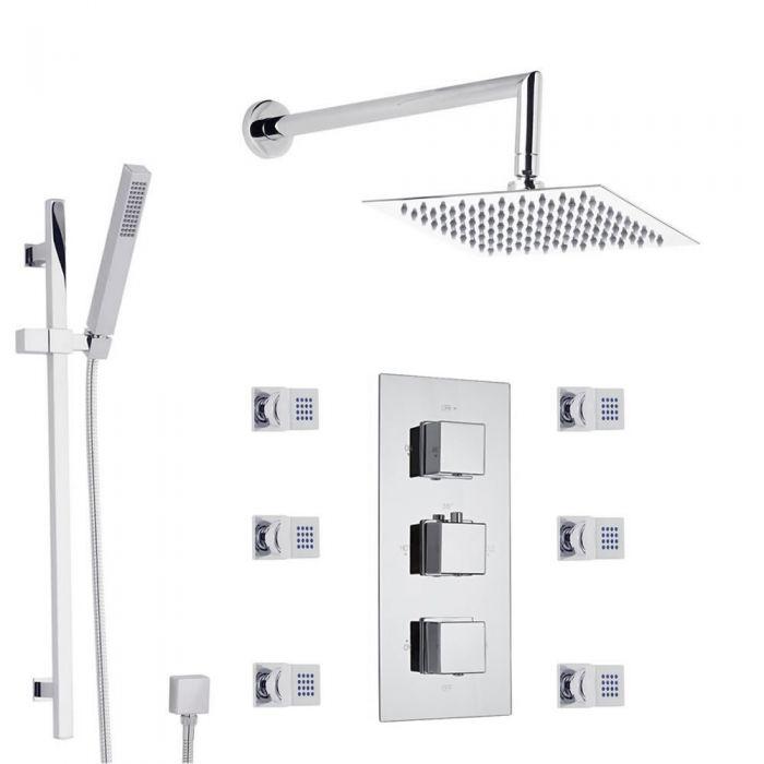 Duschsystem Kubix inkl 200mm Kopfbrause, Handbrause, Seitenbrausen & Thermostat Duscharmatur
