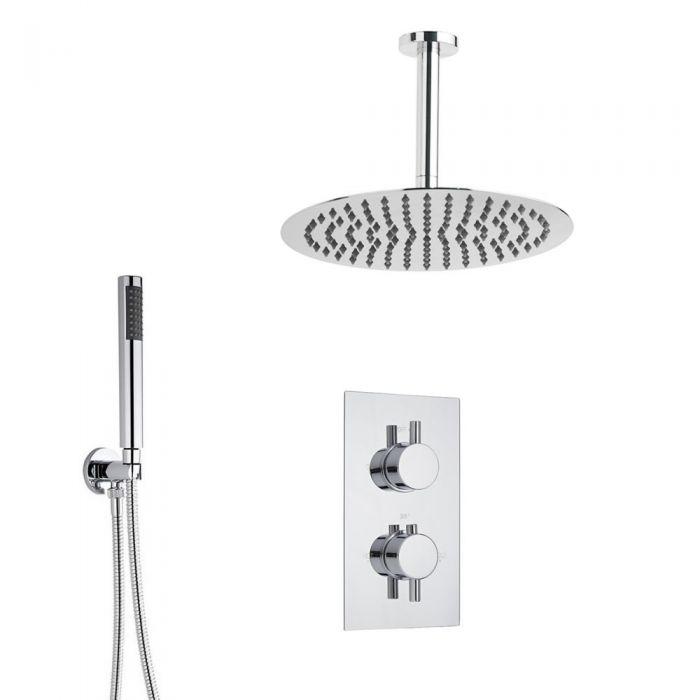 Duschsystem inkl 200mm Kopfbrause zur Deckenmontage & Twin Duscharmatur - Ecco