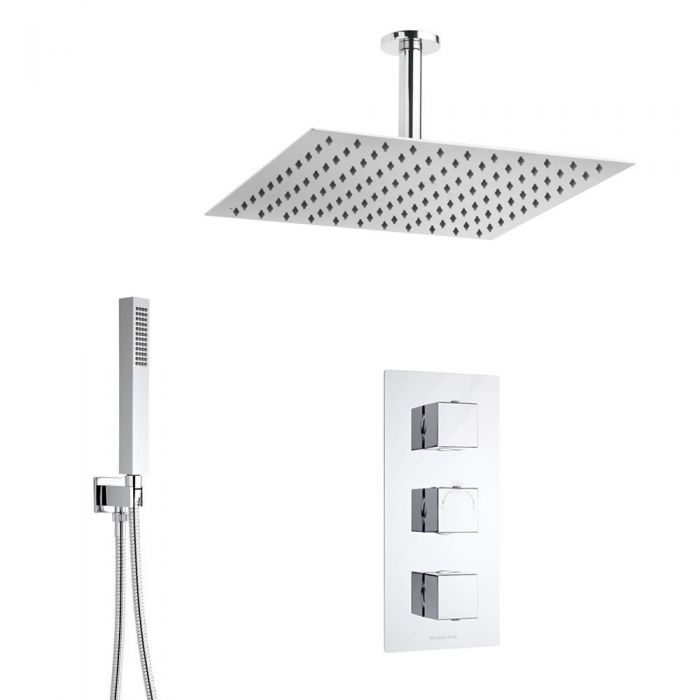 Duschsystem Kubix inkl 40x40cm Kopfbrause, Handbrause & Thermostat Duscharmatur
