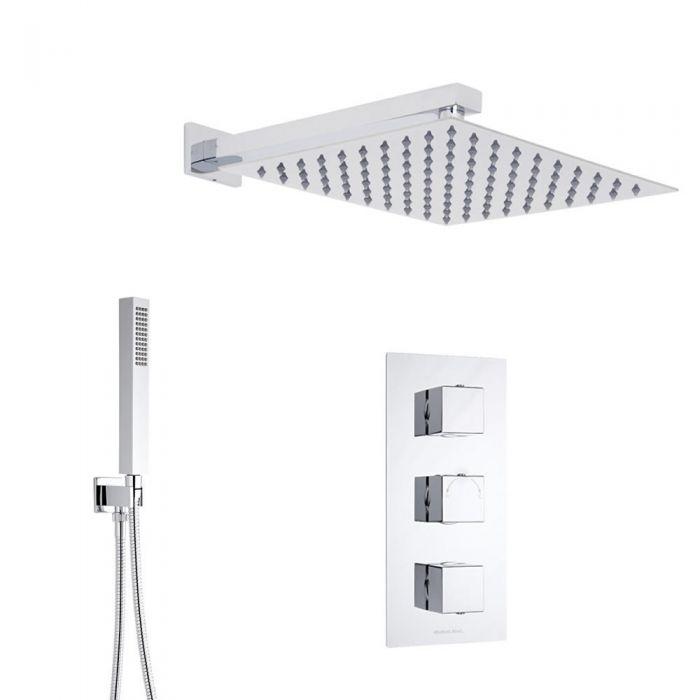 Duschsystem inkl 400x400mm Kopfbrause, Handbrause & Triple Duscharmatur - Kubix