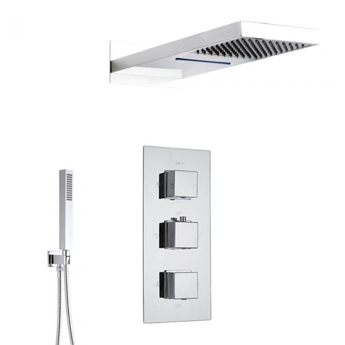 Duschsystem Kubix inkl Kopfbrause mit Wasserfall, Handbrause & Thermostat Duscharmatur