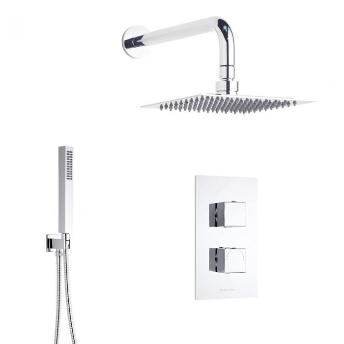 Duschsystem Quadrat inkl Kopfbrause, Handbrause & Thermostat Duscharmatur