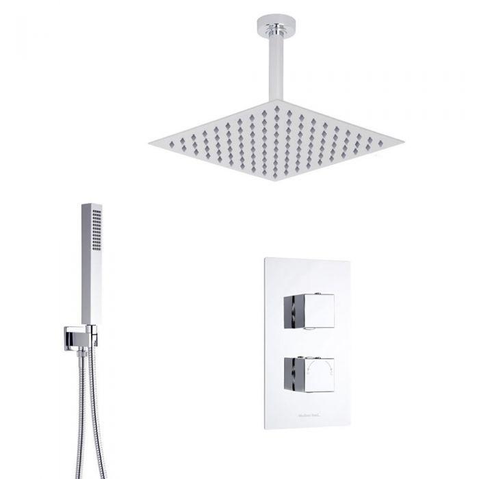 Duschsystem Kubix inkl Kopfbrause, Handbrause & Thermostat Duscharmatur