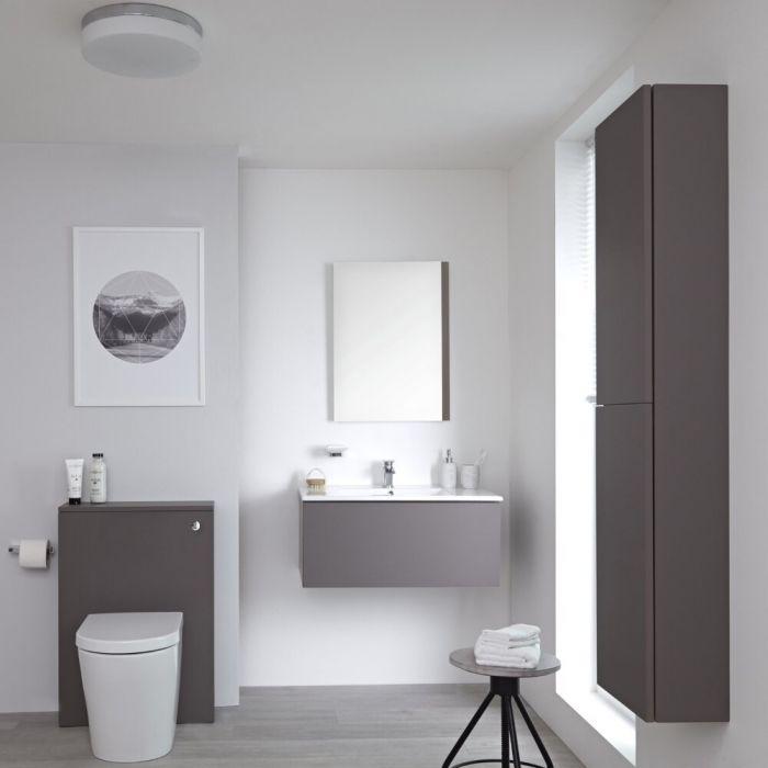 Hudson Reed Newington - Waschtisch mit Unterschrank 800mm, WC mit Vorwandelement, Badschrank & Spiegel -Mattgrau