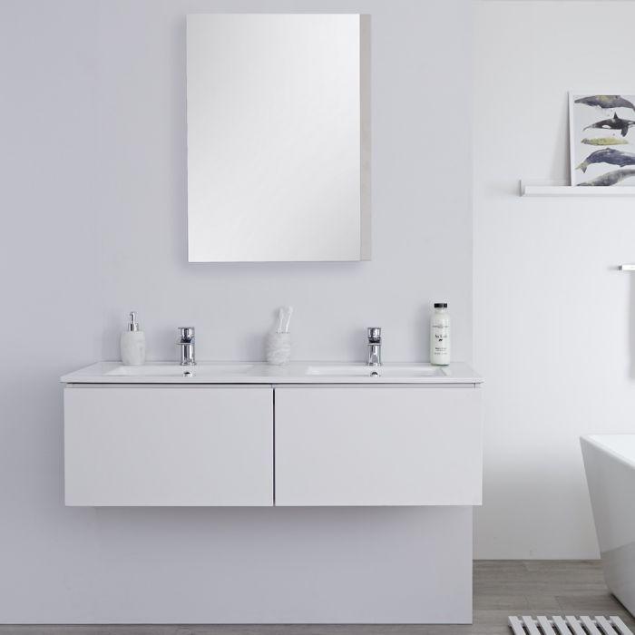 Hudson Reed Newington - Doppelwaschbecken mit Unterschrank 1200mm - Mattweiß