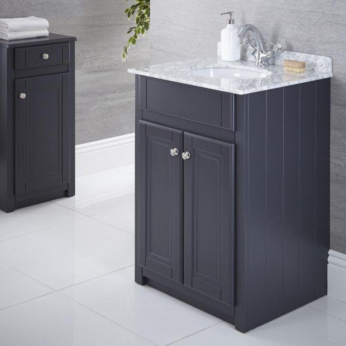 Waschtischunterschrank mit Aufsatzwaschbecken 600mm Anthrazit - Charlton