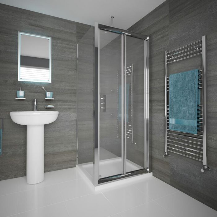 Duschkabine Eckdusche 900mm x 900mm inkl. Duschtasse und Falttür - Portland