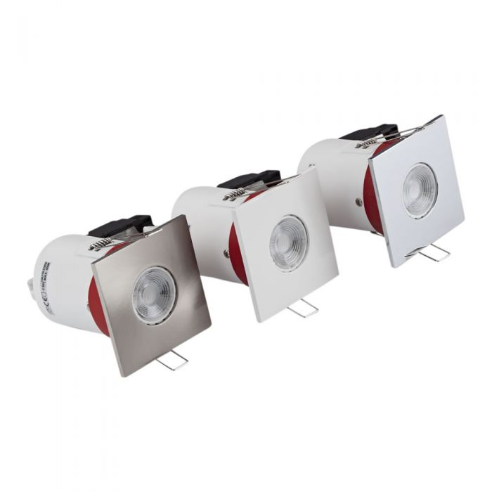 Biard 3x Einbauspot mit verschiedenen Blenden, Brandschutzklassifiziert und IP20 getestet für GU10 Birnen - Eckig Ø72mm