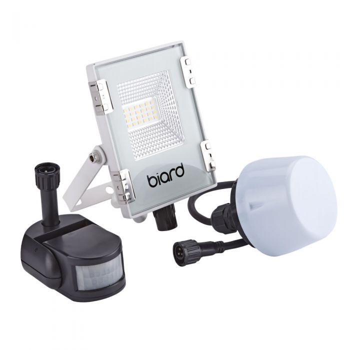 Biard 10W LED Fluter Slimline mit wahlweise Infrarot Bewegungsmelder oder Dämmerungssensor - Weiß