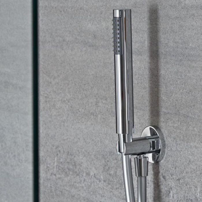 Runde Handbrause mit integriertem Wasseranschluss in der Halterung