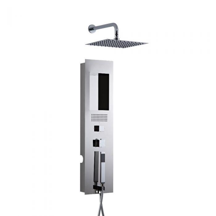 Unterputz Duschpaneel Chrom mit 200mm Duschkopf mit Wandarm Quadratisch