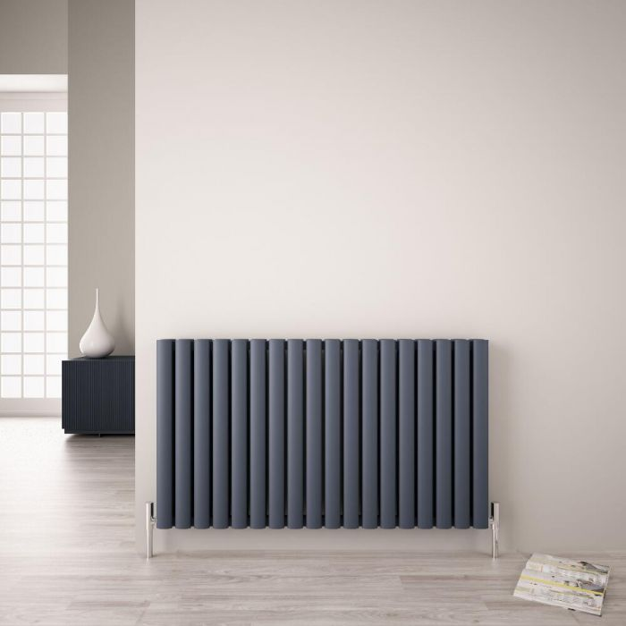 Design Heizkörper Aluminium Doppellagig Horizontal Anthrazit 600mm x 1070mm 2067W - Revive Air
