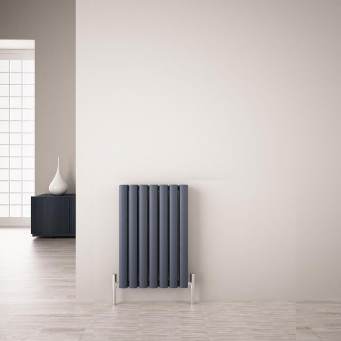 Design Heizkörper Aluminium Doppellagig Horizontal Anthrazit 600mm x 410mm 804W - Revive Air