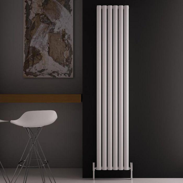 Design Heizkörper Aluminium Doppellagig Vertikal Weiß 1800mm x 350mm 1502W - Revive Air