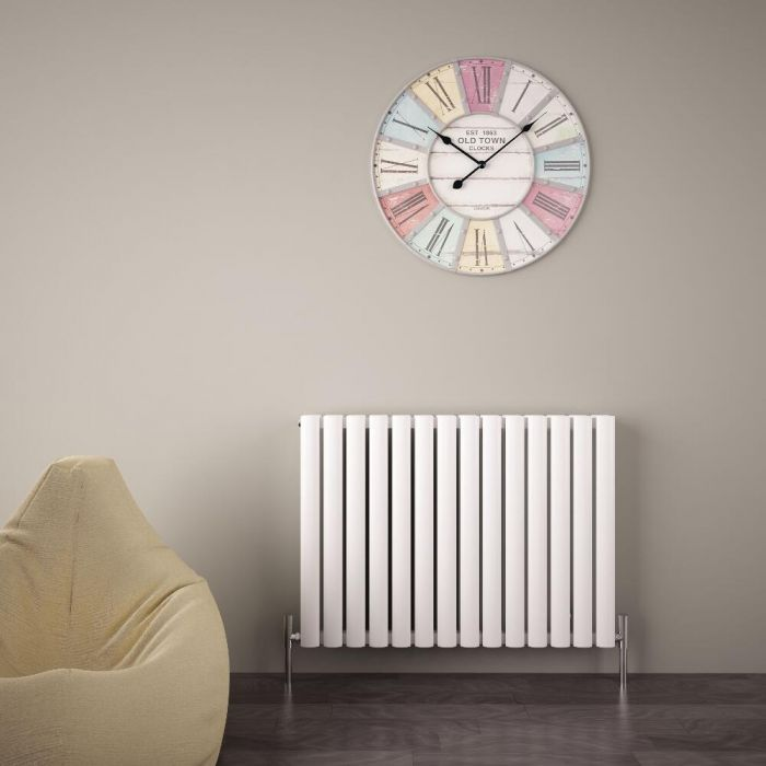Design Heizkörper Aluminium Doppellagig Horizontal Weiß 600mm x 830mm 1609W - Revive Air