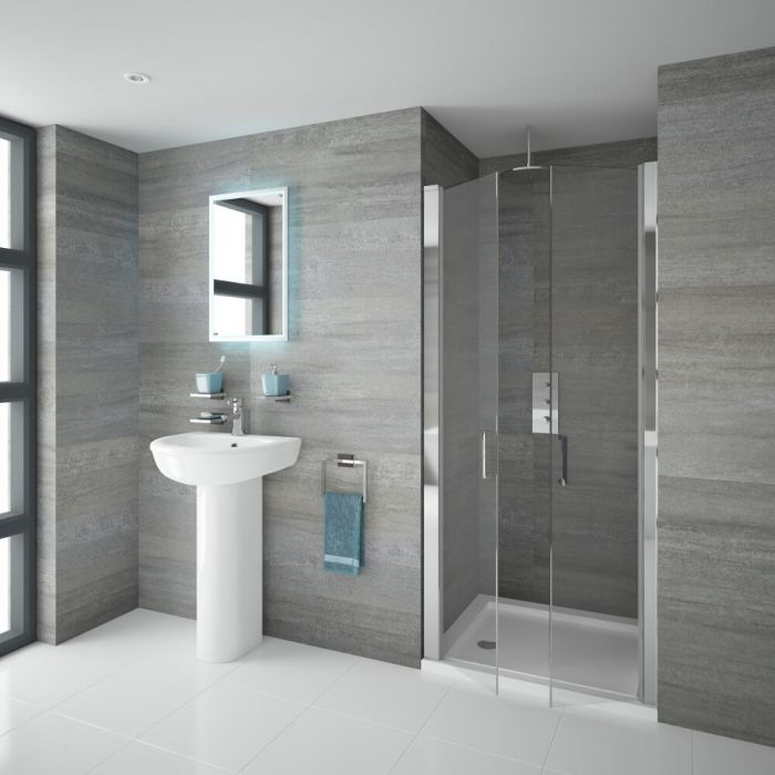 Doppelte Pendeltür Dusche 1000mm - Portland