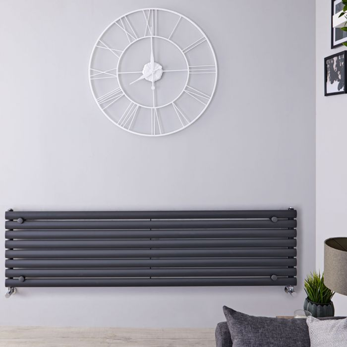 Design Heizkörper Horizontal Einlagig Anthrazit 472mm x 1600mm 1065W - Revive
