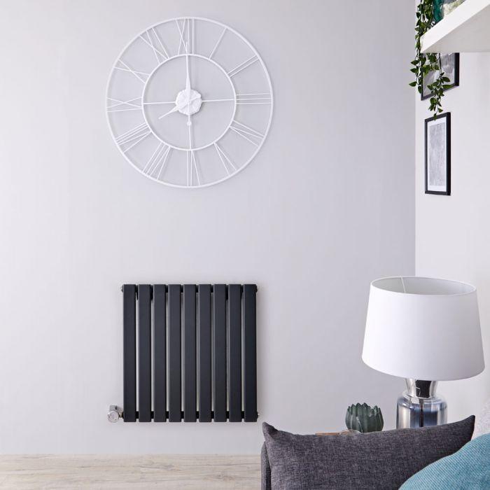 Design Heizkörper Elektrisch Horizontal Einlagig Anthrazit 635mm x 630mm inkl. ein 600W Heizelement - Delta