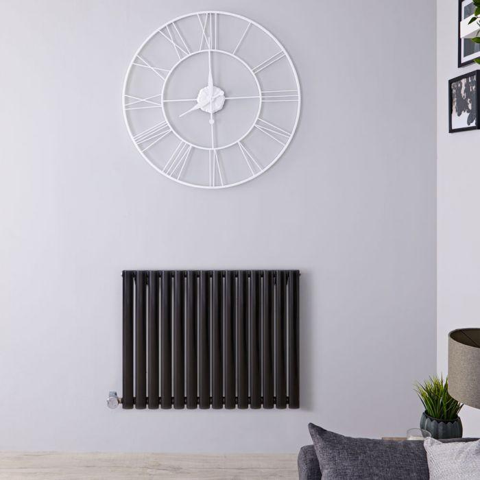 Design Heizkörper Elektrisch Horizontal Einlagig Schwarz 635mm x 834mm inkl. ein 1000W Heizelement - Revive
