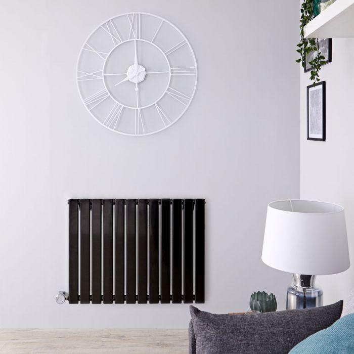 Design Heizkörper Elektrisch Horizontal Einlagig Schwarz 635mm x 840mm inkl. ein 800W Heizelement - Delta