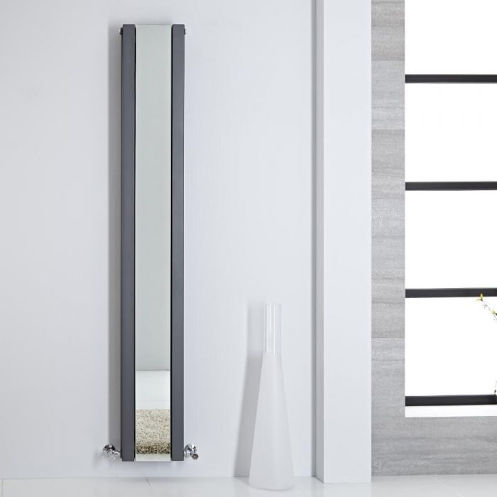Design Heizkörper mit Spiegel Doppellagig Vertikal Anthrazit 1800mm x 265mm 901W - Sloane