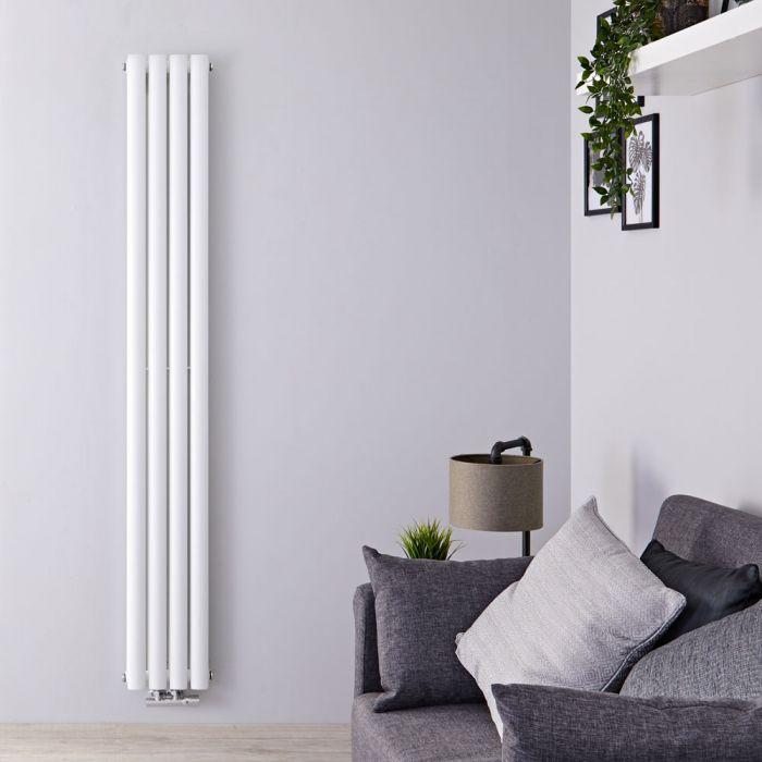 Design Heizkörper Vertikal Doppellagig Mittelanschluss Weiß 1600mm x 236mm 858W - Revive Caldae