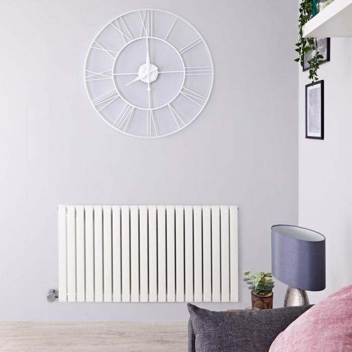 Design Heizkörper Elektrisch Horizontal Einlagig Weiß 635mm x 834mm inkl. ein 1000W Heizelement - Sloane
