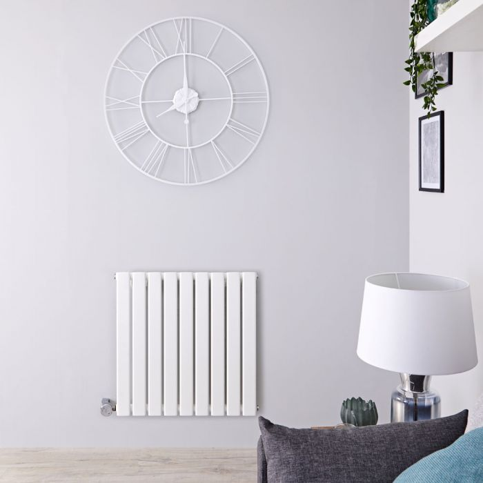 Design Heizkörper Elektrisch Horizontal Einlagig Weiß 635mm x 630mm inkl. ein 600W Heizelement - Delta