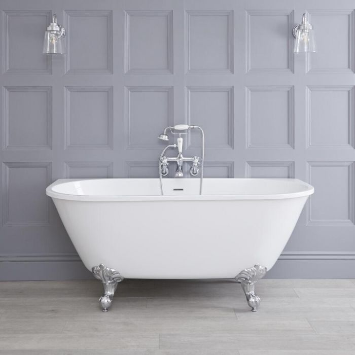 Freistehende Vorwand Badewanne zum Anlehnen an die Wand, Auswahl an Füßen