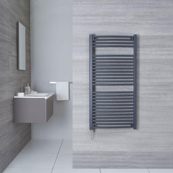 Elektrischer Handtuchheizkörper Gebogen Anthrazit 1200mm x 600mm inkl. ein 600W Heizelement - Loa