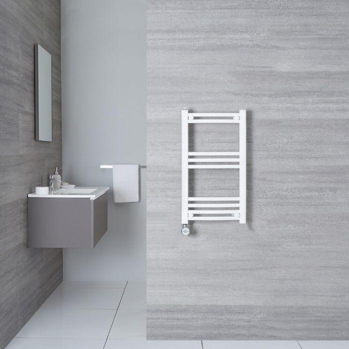 Elektrischer Handtuchheizkörper Gebogen Weiß 700mm x 400mm inkl. ein 400W Heizelement - Etna