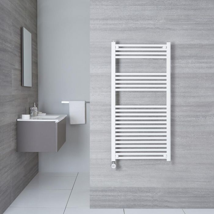 Elektrischer Handtuchheizkörper Weiß 1200mm x 600mm inkl. ein 800W Heizelement - Etna
