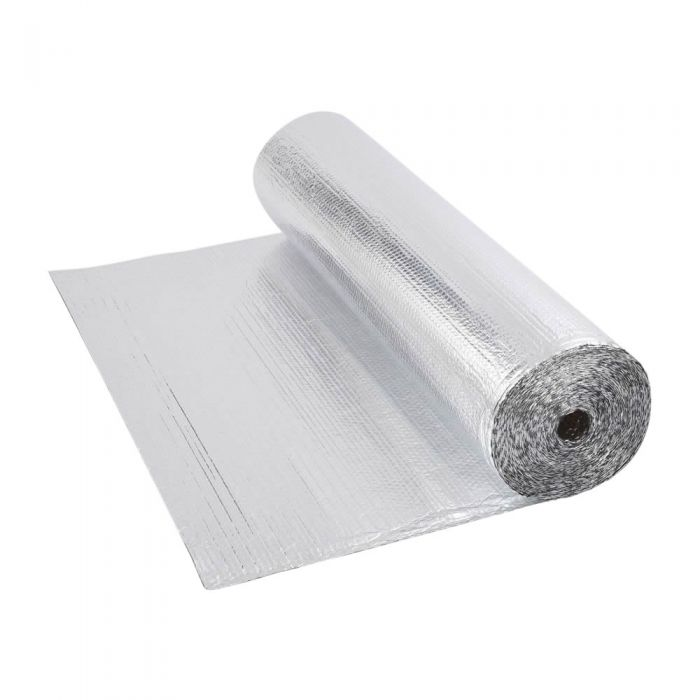 Gepolsterte Isolierfolie aus Aluminium Beidseitig 25m x 1.2m Rolle 30m2