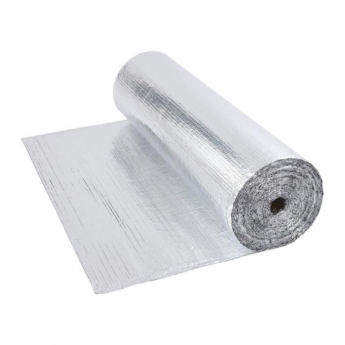 Gepolsterte Isolierfolie aus Aluminium Beidseitig 40m x 1.2m Rolle 48m2