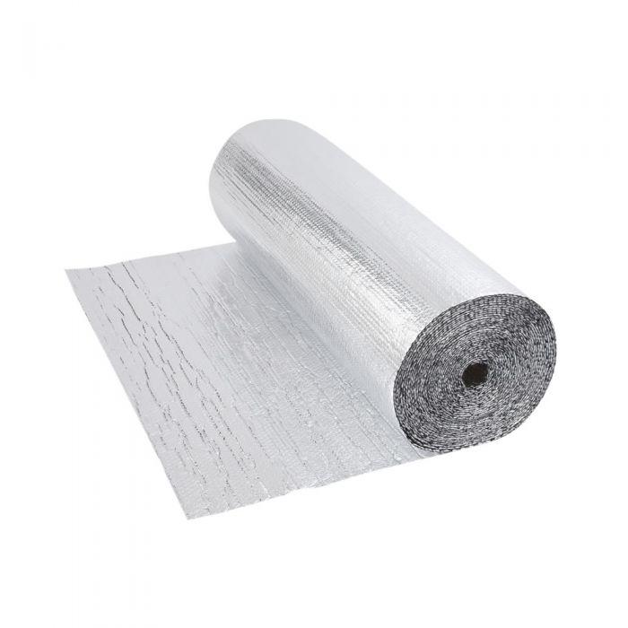 Gepolsterte Isolierfolie aus Aluminium Beidseitig Doppelllagig 5m x 1.2m Rolle 6m2