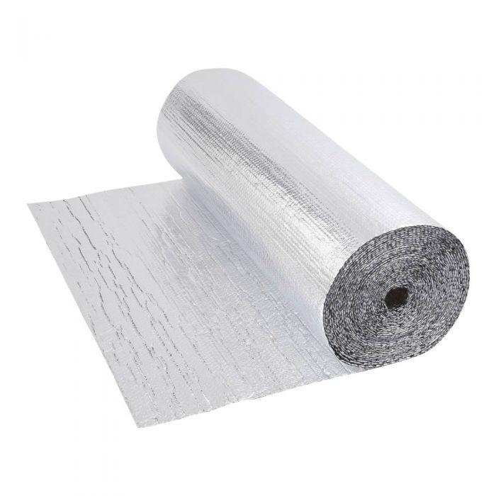 Gepolsterte Isolierfolie aus Aluminium Beidseitig Doppelllagig 25m x 1.2m Rolle 30m2