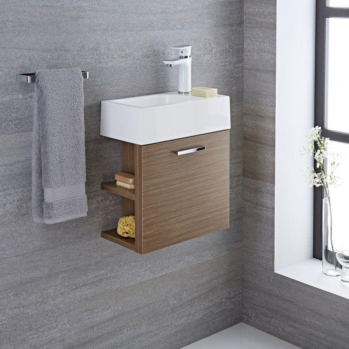 Waschtisch für Gäste-WC mit Unterschrank Eiche 400mm offene Regale - Langley