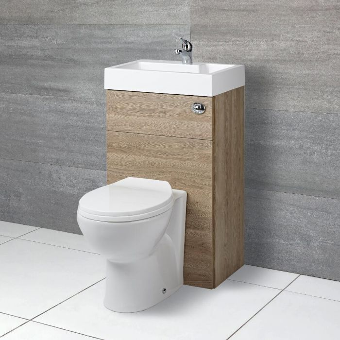Beliebt Ovale Toilette mit Spülkasten und integriertem Waschbecken Eiche HU27